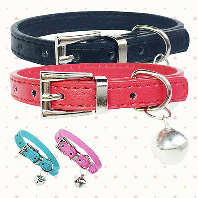 Personalized Leather Cute Small Dog Pet Cat Puppy Collar Neck Buckle Adjustable