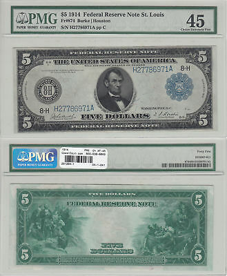 1914 $5 Federal Reserve Note FR-844 St. Louis PMG Choice Extremely Fine-45