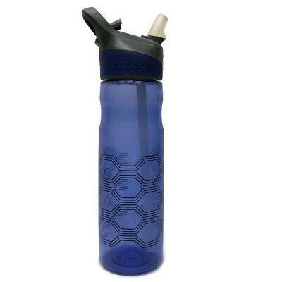 Contigo Blue Push Button Water Bottle 24oz With Straw Sports Hydration
