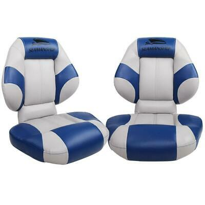 Seamanship Set of 2 Folding Swivel Boat Seats- Blue & Grey