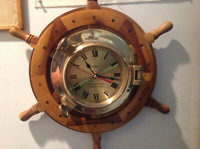 Brass Quartz Clock Wooden Wheel Large Dial Wall Us Maritime Commission