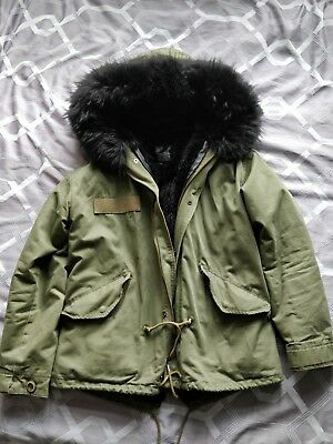 Real Fur Hooded Jacket Warm Winter Coat Used Loved Khaki lined size 12 Mao...