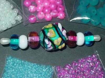 Aqua Blue Hot Pink White Handmade Lampwork Glass Spacer Seed Bead Lot 3364