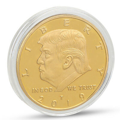 President Donald Trump In God We Trust Golden Commemorative Coin Xmas Gift 2019