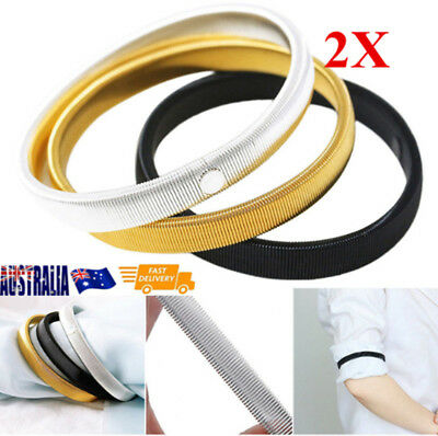 2X Stretchy Shirt Sleeve Holder Stretch Metal Armbands Antislip Elastic Garter