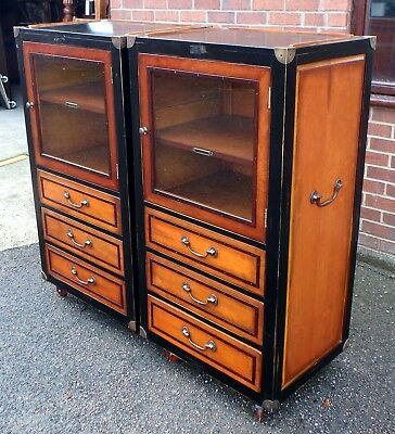 Pair Authentic Models antique military campaign style filing display cabinets