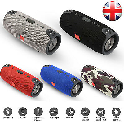 Portable Rechargeable Stereo Bluetooth Speaker Waterproof Outdoor Loudspeaker UK