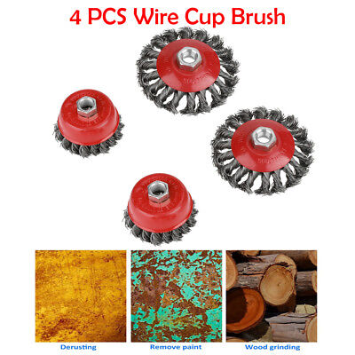 4x M14 Screw Twist Knot Wire Wheel Cup Brush Set For 75mm 100mm Angle Grinder UK