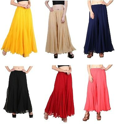 Women's Readymade Regular Fit Stretchable Georgette Palazzo Free Size Girl Pants