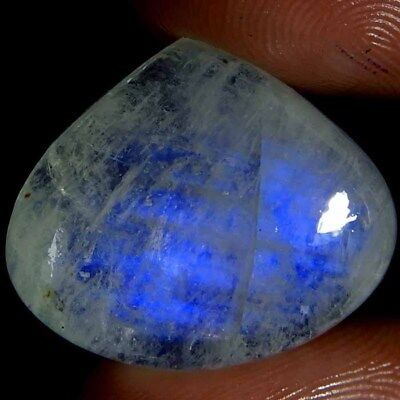 25.10Cts. Natural Blue Flashing Rainbow Moonstone Heart Cabochon Superb Gemstone
