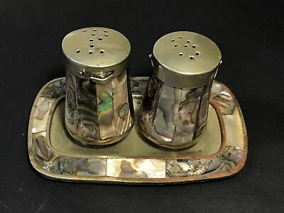 Vintage MEXICO ALPACA SILVER & ABALONE SHELL Salt & Pepper Shakers with Tray