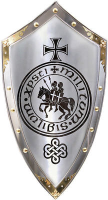 Medieval Reproduction Templar Armor Shield Made Solid Steel & Brass