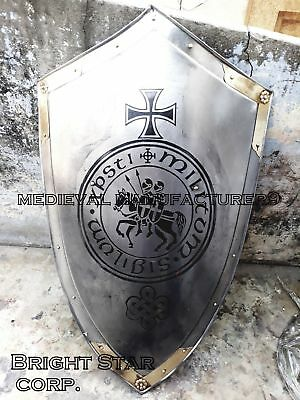 """Medieval Shield knight armor Reenactment shield 32"""" with great brass touch GIFTt"""
