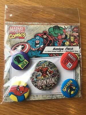 Marvel Comics Set of One Large and Four Small Badges