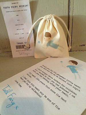 PERSONALISED COTTON TOOTH FAIRY KIT WITH BAG LETTER AND RECEIPT 10 x 12cm - BLUE