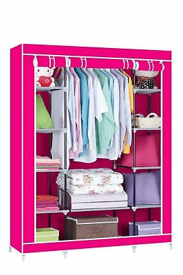 Triple Canvas Wardrobe Clothes Rack Shelves Hanging Rail Storage Cupboard-Red