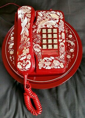 Vintage Red Oriental Push Button Phone Mother Of Pearl Inlaid On A Turn Table