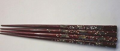 Vintage Chopsticks Abalone Shell Brown Lacquer JAPAN Set of 2