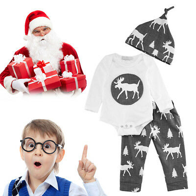3pcs/Set Baby Boys Girls Long Sleeve Cotton Shirts + Long Pants + Hats
