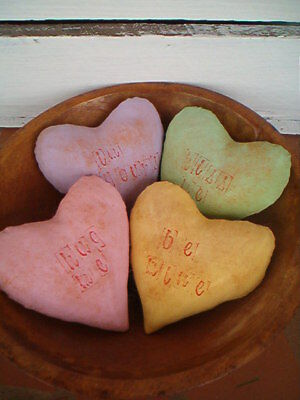 Primitive Valentine candy hearts bowl fillers