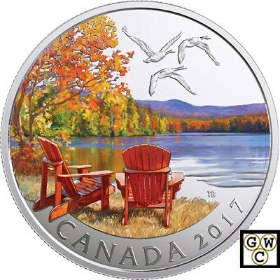 2017'Autumn's Palette' Color Matte-Prf $10 Silver Coin 1/2oz .9999 Fine(18229)NT