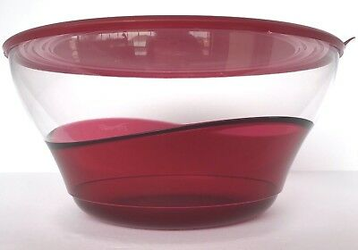 Tupperware Sheerly Elegant Grande Large Serving Bowl Ruby Red Acrylic New
