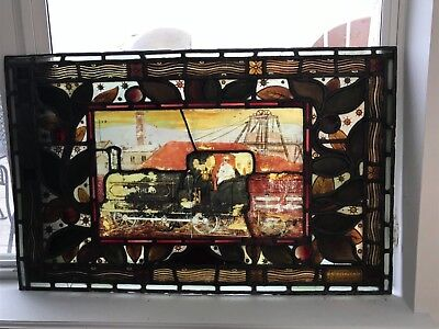 Antique 1800's Two Stained Glass Panels, Daniel Cottier, Kennedy Mines, London