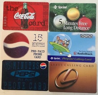 6 Misc. Phone Cards. Coca Cola, Pepsi, Sprint, Lexus, Sprint. Used