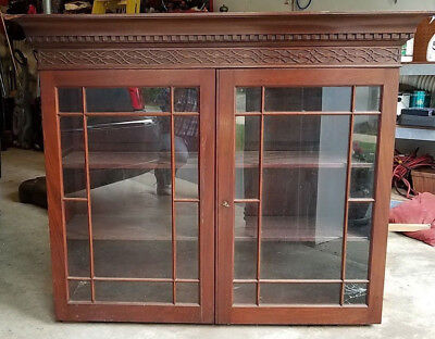 Antique Federal 19th Century Mahogany Bookcase for Drop Front Desk
