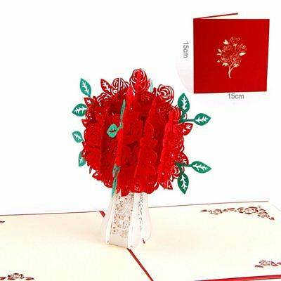 Rose Bouquet Pop Up Card 3D Cards Handmade Gift Romance For Valentine's Day 4W