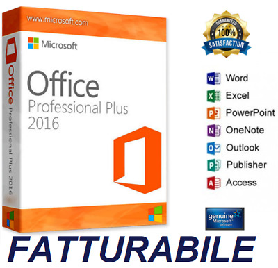Microsoft Office 2016 Professional Plus Pro 32/64 bit - Fatturabile - Originale