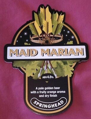 Beer pump badge clip SPRINGHEAD brewery MAID MARIAN cask ale pumpclip front