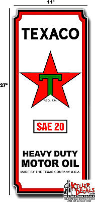 """27""""x11"""" TEXACO LARGE LUBSTER FRONT DECAL GAS AND OIL PUMP SIGN STICKER"""