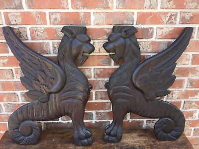 Large Antique Medieval Griffin Winged Lions Hand Carved architectural corbels