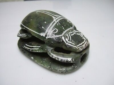 Vintage Egyptian Soapstone Stone Carving Hieroglyph Carved Beetle Paperweight