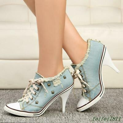 Womens High Heel Denim Ripped Lace Up Rivet Canvas Pointy Toe Jean Shoes Fashion