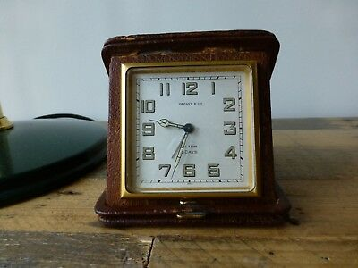 vintage working Tiffany travel alarm clock with 8 day 15 jewel Concord movement
