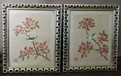 Water color Painting on Silk ASIAN Japanese Chinese Birds Vintage 2 Framed  BRX