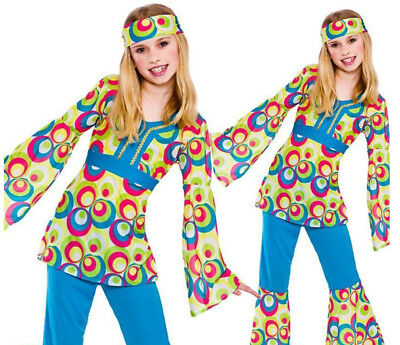 d8be44bede53 Girls Retro Hippie Flower Power Hippy 60s 70s Fancy Dress Costume Child  Outfit