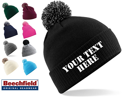 Personalised Snowstar Pom Pom Beanie Bobble Hat With Name Slogan  Personalised 7ec9f78cbdf