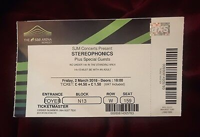 Stereophonics Collectable Concert Ticket & Stub - Wembley SSE Arena - 2/3/18