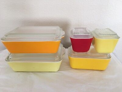 Vtg Pyrex Primary Colors 10 Pc Set Refrigerator Dishes 501(2)-502-503(2) w/Lids