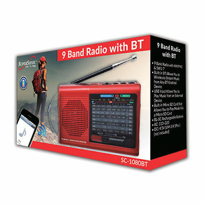 BRAND NEW Supersonic SC-1080BT 9-Band Radio w/ Bluetooth/USB/MicroSD-In, Red