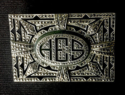 Grobe & Yasner 1940's Sterling Silver & Marcasite Initial Brooch Pin
