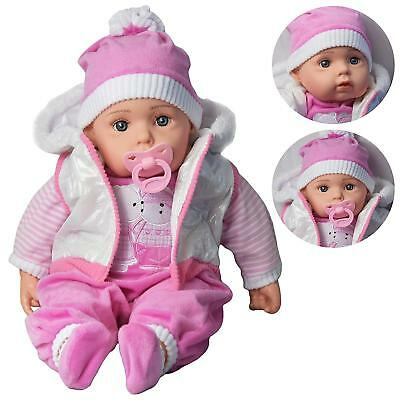 "Baby Doll 20"" Lifelike Large Size Soft Bodied Girls Boys Toy With Dummy & Coat"
