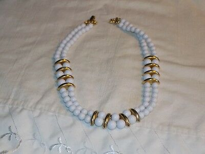 Vintage Gold tone white hard plastic bead 2 strand 18 inch necklace