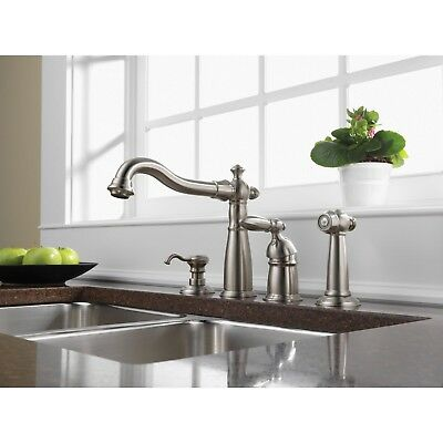 Delta Stainless Steel Victorian Kitchen Faucet w/Spray and Soap Dispenser D003CR