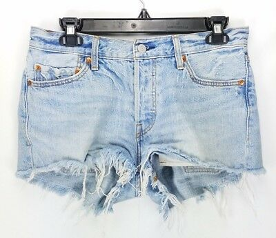 e62e2b53 Levis 501 Cut Off Denim Shorts 28 Light Wash Distressed Vintage Mid Rise  Womens