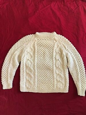 Wool Fisherman's Sweater Dart England Pullover Boy Girl Sz L XL Cable Handknit