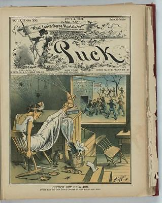 Photo of Puck,Justice out of a Job,1883,Opper,Lynchings,Cobwebs,Spiders
